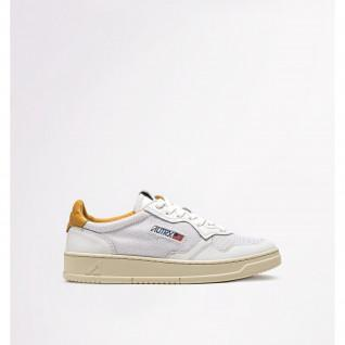 Baskets femme Autry 01 Low Leather/Kevlar White/Gold