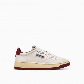 Baskets Autry Medalist BB37 Bicolor Leather White/Burgundy