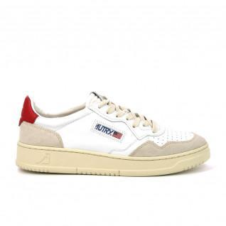 Baskets Autry Medalist LS24 Leather/Suede White Red