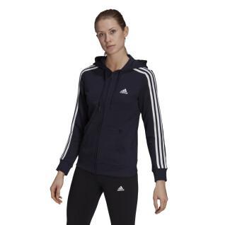 Sweatshirt zippé à capuche femme adidas Essentials French Terry 3-Bandes