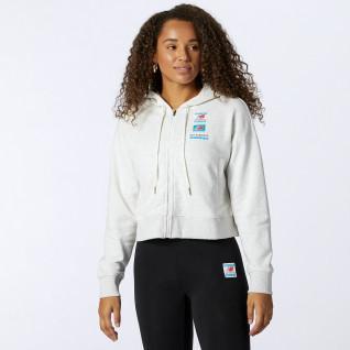 Sweatshirt full zip femme New Balance essentials